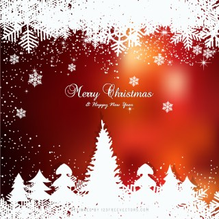 Winter Dark Red Background with snowflakes and Christmas Trees