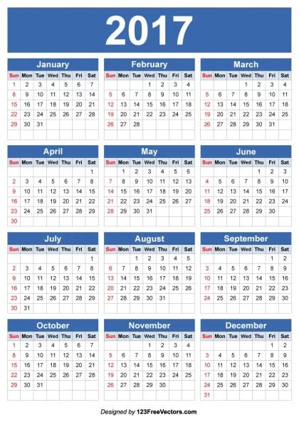 2017 Calendar Vector Editable