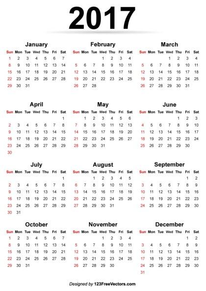 Printable 2017 Calendar Template
