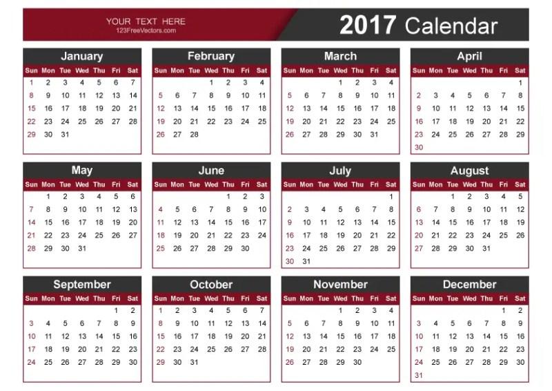 Editable 2017 Vector Calendar