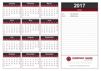 2017 Calendar Template with Notes