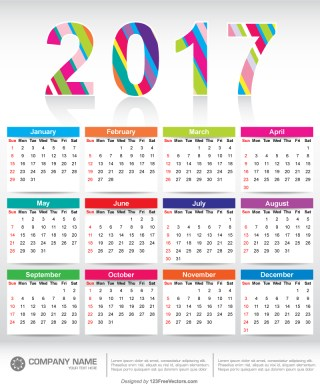 Colorful 2017 Calendar Printable Template