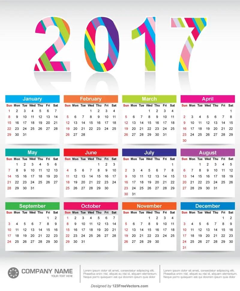Colorful 2017 Calendar Printable Template