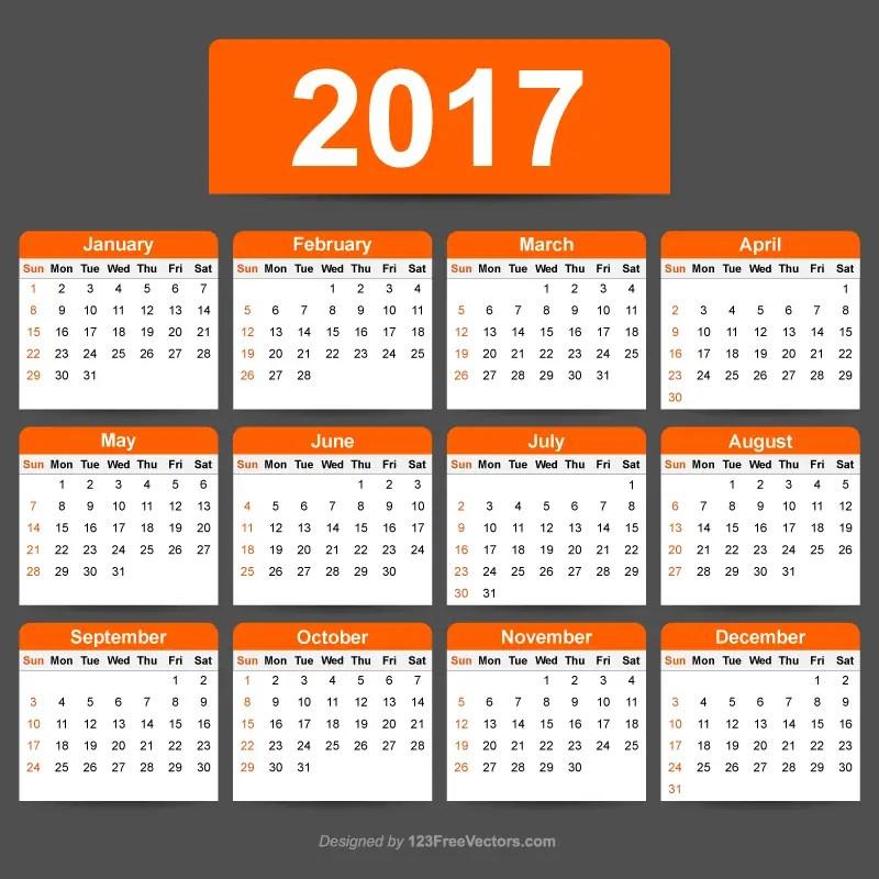 2017 Calendar Template Illustrator