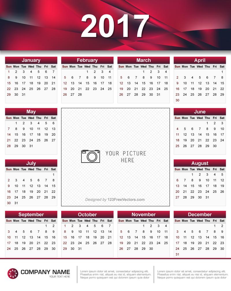 Printable 2017 Calendar Design