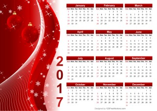 Red Christmas Calendar 2017 Vector