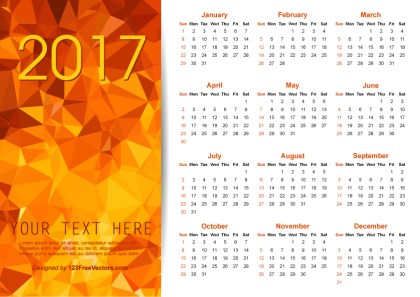 Vector Orange Polygon 2017 Calendar