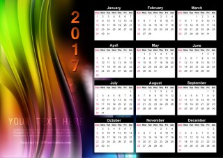 Abstract Colorful Calendar 2017 Vector