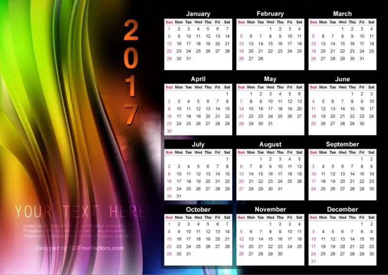 Abstract Colorful Calendar 2017 Vector
