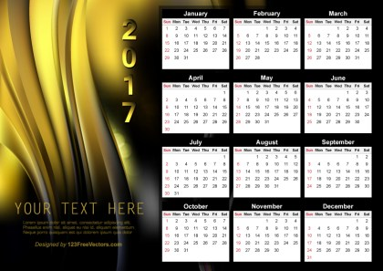 Vector Abstract Black and Gold Calendar 2017