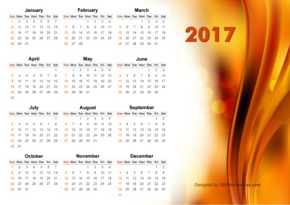 Vector Abstract Orange Calendar 2017