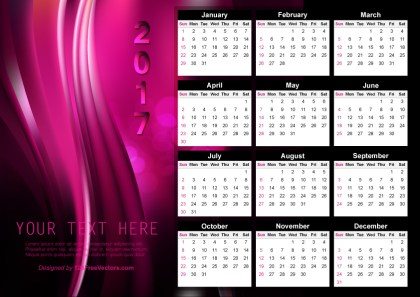 Vector Abstract Pink Calendar 2017