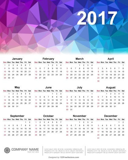 2017 Polygonal Calendar Design Vector