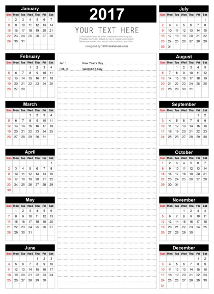 Printable 2017 Calendar Template with Notes