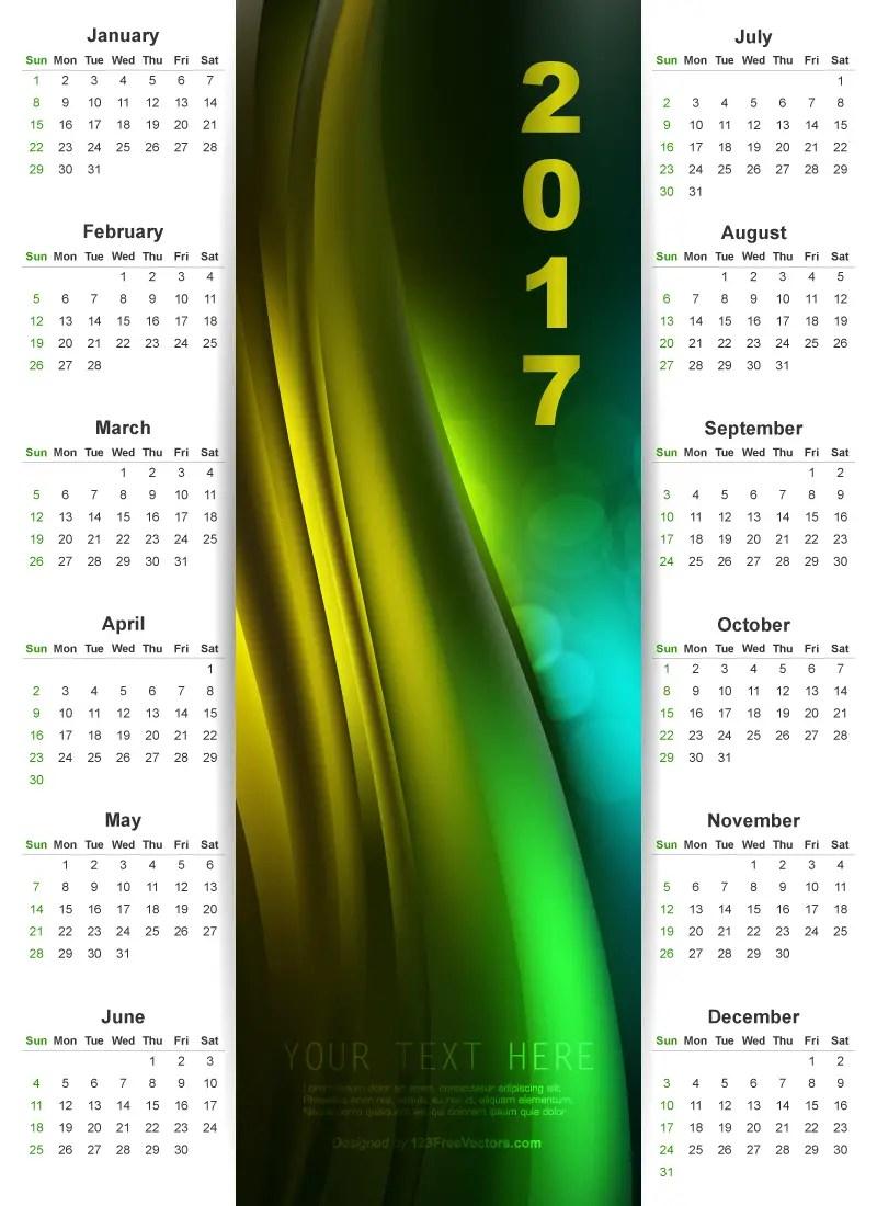2017 Wall Calendar Graphic Design