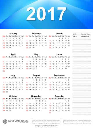 Yearly 2017 Calendar Template