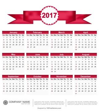 Printable 2017 Calendar Vector