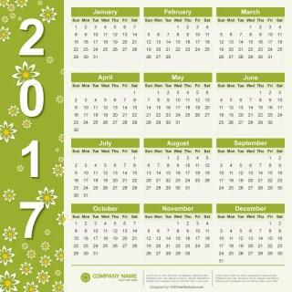 Free Vector 2017 Calendar