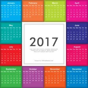Colorful Calendar 2017