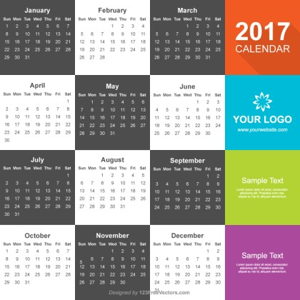 Calendar 2017 Vector Free Download