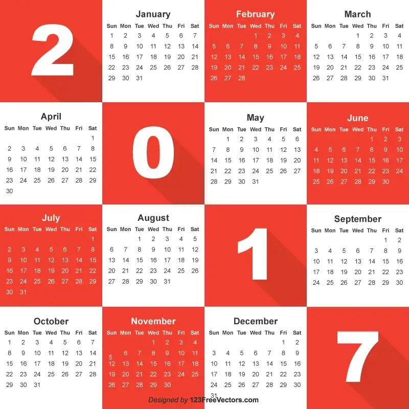 Free Vector Calendar 2017
