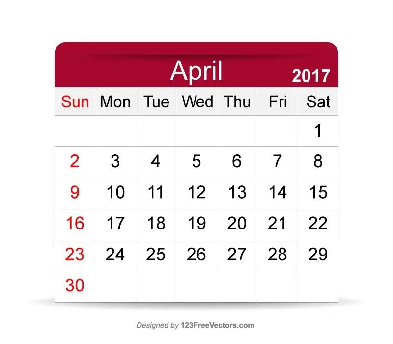 Printable Calendar April 2017