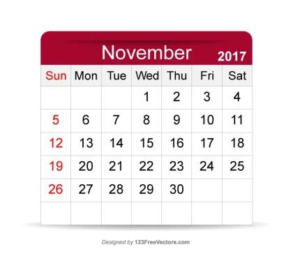 Editable Calendar November 2017