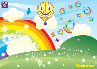 Summer Rainbow Free Vector Illustration
