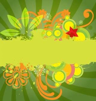 Green Sunburst Vector Background with Flowers