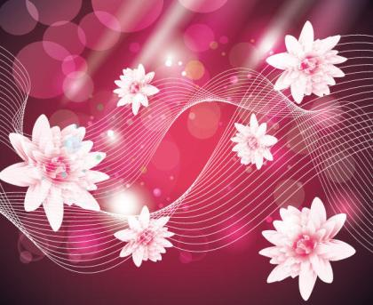 Abstract Wave Background with Pink Flowers Vector Free