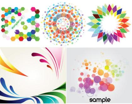 Colorful Backgrounds Decorative Elements Free Vector