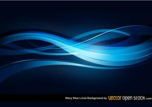 Wavy Blue Lines Background Free Vector