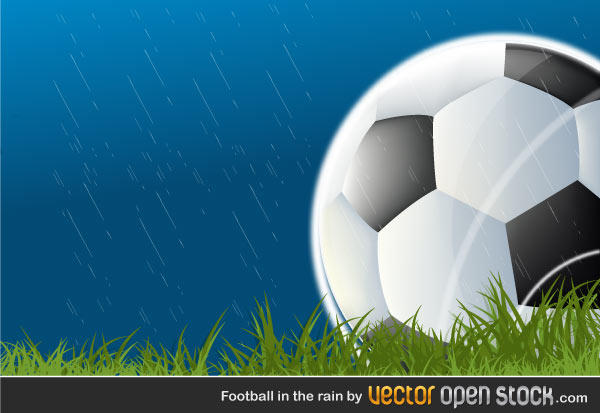 Football in the Rain – Free Vector Background