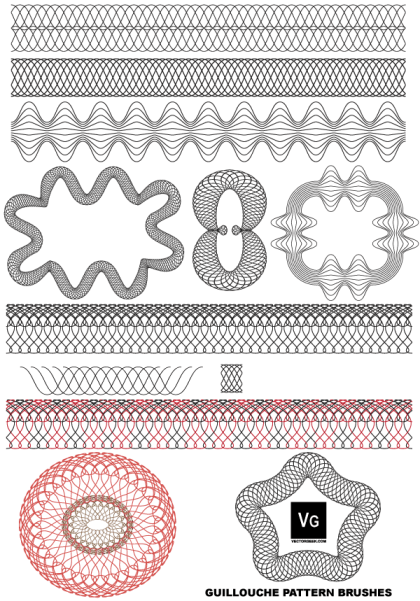 Free Vector Guilloche Patterns Illustrator Brushes