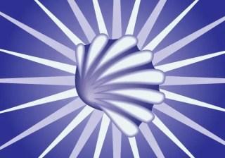 Snail Shell on Blue Sunburst Background Vector