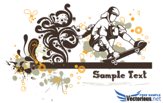 Floral Vector Background – Skater