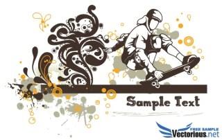 Floral Vector Background – Skater
