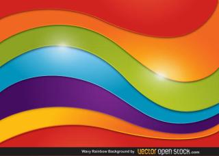 Abstract Wavy Rainbow Background Vector