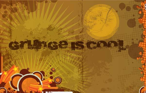Retro Grunge Brown Background with Circles Vector