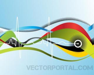 Vector Abstract Background with Sine Wave and Halftone Design