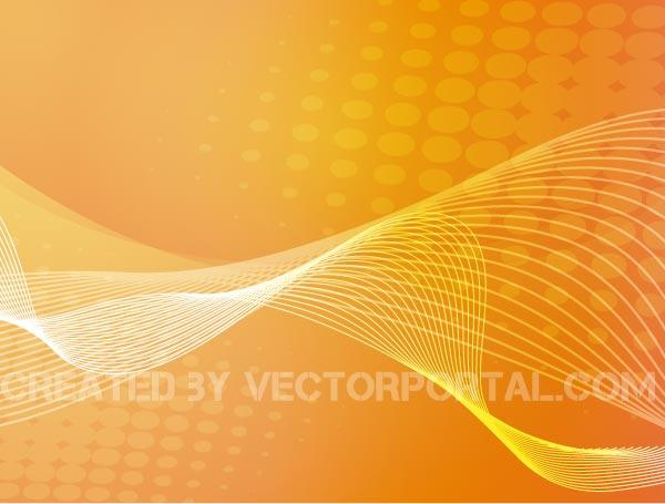 Vector Abstract Orange Color Background with Wavy Flowing
