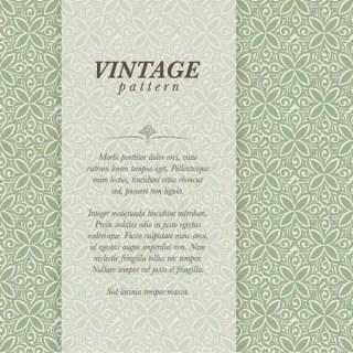 Vintage Floral Pattern Vector Card Template