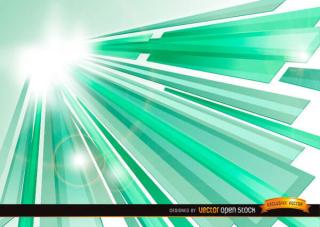 Abstract Green Crystal Sunbeams Background Design
