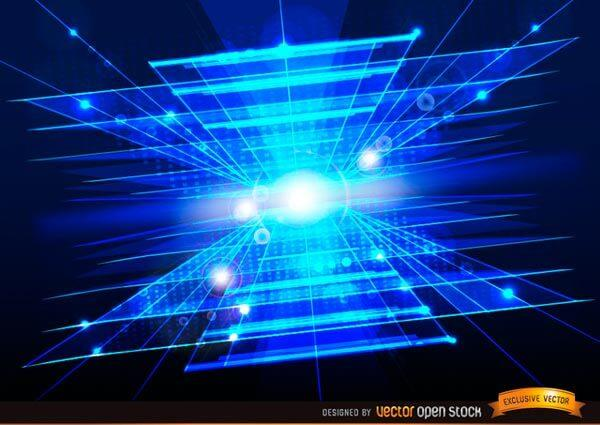 Technologic Abstract Blue Background with Light Flares