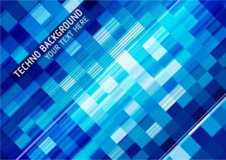 Abstract Blue Techno Squares Background Vector