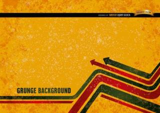 Yellow Grunge Background with Modern Arrows Vector