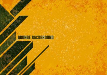 Yellow Grunge Background with Modern Stripes Vector