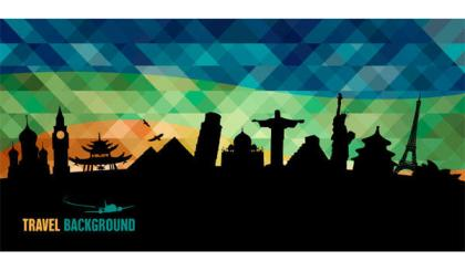 World Famous Monuments Silhouettes Background