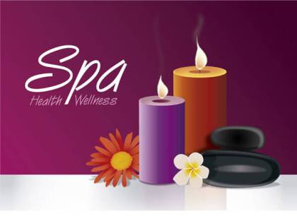 Candles Flowers Spa Background Free Vector