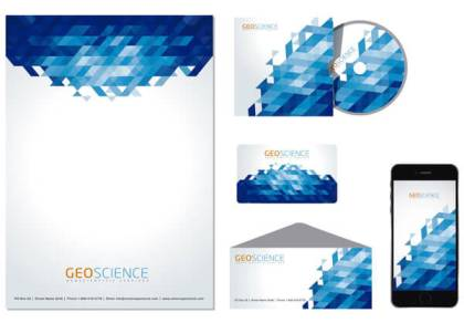 Stationery Blue Abstract Design Free Vector